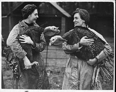 vintage women with turkeys   thanksgiving