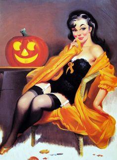:) Halloween pin up art done by Gil Elvgren. Halloween Retro, Halloween Pin Up, Halloween Pictures, Halloween Costumes, Halloween Tattoo, Halloween Artwork, Haunted Halloween, Halloween 2013, Halloween Town