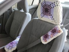 Crochet Granny Square Car Seat Belt Cozy, Headrest Cover, and Console Cover