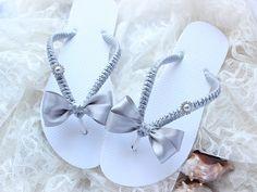 Embellished flip flops SILVER wedding bow & by AdrianaSantosBridal