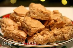 Original Old Fashioned Mud Hen Bars - A wonderful heirloom recipe dating back 100 years, this simple pecan cookie bar is topped with a brown sugar meringue layer, giving them a slightly crisp, cracked topping. Cookie Desserts, Just Desserts, Cookie Recipes, Dessert Recipes, Bar Recipes, Free Recipes, Eat Dessert First, Dessert Bars, Dessert Bread