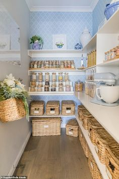 Melbourne mother Belle Saf, decided to revamp her dark and dusty pantry and turn it into a modern, Hamptons-inspired room. Speaking to FEMAIL, Belle, revealed exactly how she did it. Kitchen Pantry Design, Kitchen Organization Pantry, Home Organisation, Home Decor Kitchen, Diy Kitchen, Kitchen Storage, Home Kitchens, Kitchen Interior, Ikea Pantry