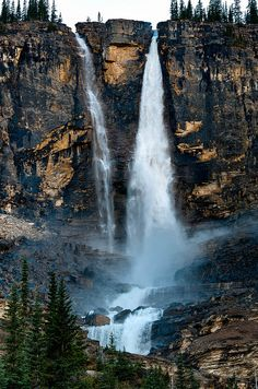 Twin Falls seen from the Iceline Trail in Yoho National Park, British Columbia, Canada.