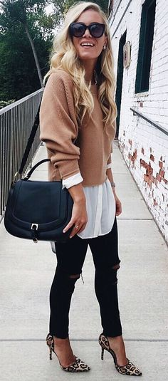 how to style a nude sweater : shirt + bag + skinnies + heels