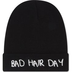 LOCAL HEROES Bad hair day beanie ($30) ❤ liked on Polyvore featuring accessories, hats, beanie, black, black beanie hat, beanie hats, embroidered beanie, embroidered beanie hats and embroidery hats