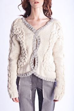 HandKnit Cabled Cables Chunky Sweater by ShopTheSirens on Etsy, $310.00