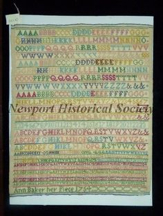 1754, Sampler of silk thread on linen with multiple series of multicolored numbers and letters. Probably made in England or Philadelphia. Sampler in very good condition, especially considering its age.