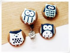 OWL LOVERS! Funny Owl Charm with Blue & Brown Owl Fabriccovered by ZzzonkOwl, $7.00