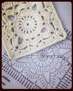 Motifs Granny Square, Crochet Square Patterns, Crochet Motifs, Crochet Blocks, Crochet Diagram, Crochet Squares, Crochet Designs, Crochet Stitches, Granny Squares