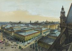 An engraving of the 19th century iron and glass Baltard pavilions at Les Halles mood market of Paris in the Musee d'Orsay.