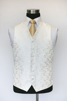 Ivory and Gold Vouvray Waistcoat with a Gold Tie Wedding Waistcoats, Gold Tie, Ivory, Vest, Jackets, Collection, Dresses, Fashion, Down Jackets
