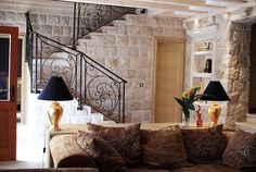 Luxury villa for rent in Dubrovnik Old Town Villa Dubrovnik, Dubrovnik Old Town, Old Stone Houses, Colorful Pillows, Luxury Villa, Great Rooms, Interior Inspiration, Stairs, Remodeling Ideas