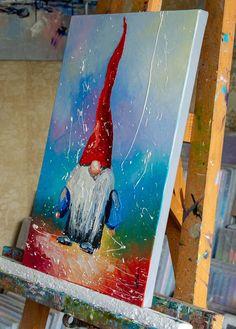 Original Kids Painting by Liubov Kuptsova Easy Canvas Painting, Winter Painting, Painting For Kids, Canvas Paintings, Gnome Paint, Nativity Painting, Christmas Paintings On Canvas, Art Lessons, Whimsical Christmas Art