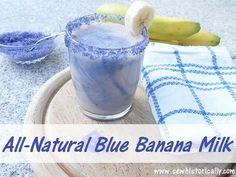 All-Natural Blue Banana Milk - Dairy-Free - Sew Historically Blue Banana, Banana Milk, Block Party Desserts, Jelly Bread, Beach Themed Crafts, Sweet Scoops, Blue Food, Dairy Free Recipes, Vegan Recipes