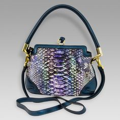 Silvano Biagini Designer Blue Tanzanite Python Leather Small Purse Bag