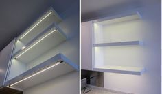 Under the shelf customizable LED strips by Inspired LED- simply stick on and plug in! Perfect for the kitchen, office, and more