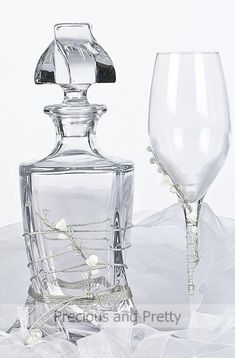 Greek Orthodox wedding accessories, wine decanter sets, handcrafted stefana carafe and wine glasses. Wine Decanter Set, Crystal Decanter, Wedding Themes, Wedding Favors, Greek Wedding Traditions, Orthodox Wedding, Make Your Own Wine, Invitation, Champagne Glasses