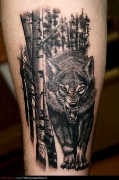 bad wolf in the forest tattoo - Wolf tattoos