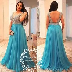 Blue Chiffon Prom Dresses With Appliques Beading 2018 Plus Size Women Sexy Deep V Neck Sheer Back Long Evening Dress Formal Gown #longpromdresses