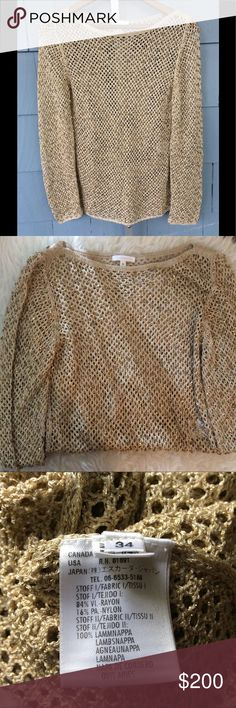 Escada Gold Sweater Absolutely gorgeous gold sweater, in excellent condition! Size 34, small. Material and care instructions are listed in two of the pics. My favorite item in my closet!! 😍 Escada Sweaters