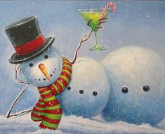Sexy Schneemann Tini - New Ideas Cartoon Christmas Tree, Christmas Minis, Christmas Snowman, Christmas Themes, Holiday Crafts, Winter Painting, Rock Painting, Wine And Canvas, Watercolor Christmas Cards