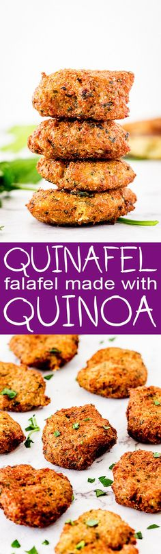 Clean, healthy eating meets comfort food in these delicious quinoa-based falafel Vegetarian Recepies, Veggie Recipes, Lunch Recipes, Gourmet Recipes, Cooking Recipes, Dinner Recipes, Dessert Recipes, Healthy Snacks, Healthy Eating
