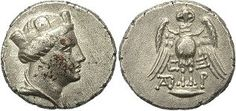 Amisos (Samsun, Turkey) mint, 300 - 125 B.C.; obverse draped bust of Hera-Tyche right, wearing a turreted stephanos; reverse owl standing facing on shield, wings open, C - Ξ / monogram (TAI?) - P flanking under wings; rare;