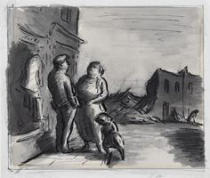 image: A man stands chatting to a woman in a street. A small girl plays next to them, in the street. Behind them is a bomb-damaged shop and the ruins of a street with a hunched figure walking to the right. Edward Ardizzone, War Comics, Book Illustration, Art History, Watercolor, Drawings, Ww2, Plays, Artist