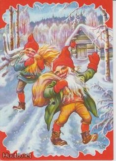 Christmas cards with the name of the designer - (used cards are in very good condition) - Renate Drivdal - Picasa-verkkoalbumit Swedish Christmas, Merry Christmas Card, Scandinavian Christmas, Vintage Christmas Cards, Christmas Elf, Christmas 2017, Xmas Cards, Baumgarten, Elves And Fairies