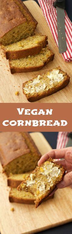 Perfectly sweet vegan cornbread. Perfect comfort food for cold nights! Serve hot from the oven with lashings of vegan butter!Vegan | Vegan Sides | Vegan Food | lovingitvegan.com