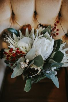 native bouquet with white king proteas