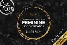 The circle edition of the feminine logo creator from Worn Out Media Co. This huge pack of feminine logo templates is equipped with 240 circle shaped Web Design, Logo Design, Design Typography, Design Shop, Design Files, Brochure Design, Design Art, Logo Creator, The Creator