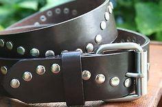 Womens-New-York-Co-Black-Genuine-Leather-Belt-Silver-Studs-Large-Rock-Punk