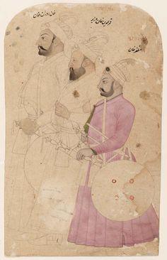 Three Mughal gentlemen: Muzafar Khan, Qamaradin Khan Vazir, and Khanduran Khan Mughal Miniature Paintings, Mughal Paintings, Islamic Paintings, Indian Paintings, Fun Craft, Craft Ideas, Craft Museum, Art And Craft Design, Indian Artist