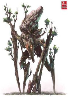 spriggan__by_xrobingoodfellowx - Arcadia Quest Mythical Creatures Art, Forest Creatures, Alien Creatures, Cute Fantasy Creatures, Monster Design, Monster Art, Tree Monster, Creature Concept Art, Creature Design