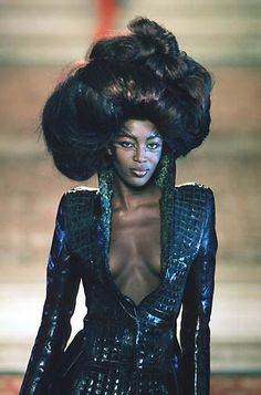 Naomi Campbell, 1997 couture hair styles, Alexander McQueen for Givenchy, 90s runway big hair, oversized up do, couture hair styles, rococo, baroque, marie antoinette.  CREDITS: Hair by Nicolas Jurnjack, Makeup by Val Garland, Styling by Katy England .