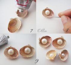 Mermaid Jewelry, Seashell Jewelry, Seashell Art, Seashell Crafts, Ocean Crafts, Beach Crafts, Handmade Birthday Gifts, Homemade Jewelry, Diy Hair Accessories