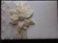 Guest Book Ivory Wedding aster flower choose your colors #guestbook by ArtisanFeltStudio on Etsy, $40.00