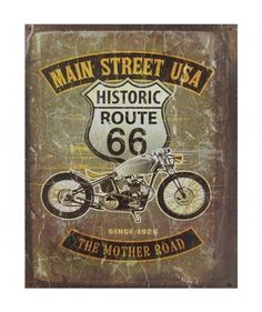 Route 66 Main Street USA The Mother Road Metal Print