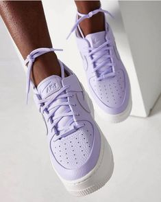 Nike Lilac Air Force 1 Sage Trainers at ASOS. Shop this season's must haves with multiple delivery and return options (Ts&Cs apply). Dr Shoes, Hype Shoes, Jordan Shoes Girls, Girls Shoes, Ladies Shoes, Cute Sneakers, Shoes Sneakers, Sneakers Adidas, Sneakers Style