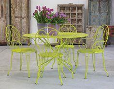 Table et fauteuils #Montmartre couleur #Verveine #Fermob www.fermob.com