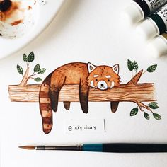 Red panda lounging on branch Cute Animal Drawings, Animal Sketches, Cute Drawings, Art Sketches, Watercolor Animals, Watercolor Art, Panda Drawing, Illustration Art, Illustrations