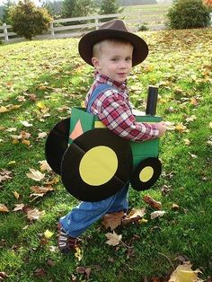 21 diy halloween costumes for kids!These shoppable and DIY boys Halloween costumes will help your son stand out in a crowd of ghosts and goblins. Toddler Costumes, Cute Costumes, Halloween Costumes For Kids, Diy Halloween, Happy Halloween, Farmer Halloween Costume, Costume Ideas, Halloween Clothes, Halloween Train