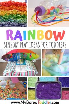 Rainbow sensory play ideas for toddlers to try this Spring or St Patrick's Day - fun color themed sensory activities for 1 year olds, 2 year olds and 3 year odls - great for preschool or toddler teachers. #myboredtoddler #sprincrafts #springsensoryplay #toddleractivity #toddleractivities #toddlerfun #sensoryplay #sensorybin #sensorybins #sensory #rainbowactivities #coloractivities #stpatricksday #stpatricksdayactivities
