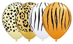 12 Assorted animal print latex balloons - Great decorations for a jungle, safari party.