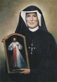 Faustina Kowalska with Divine Mercy image she received via revelation from Jesus Divine Mercy Novena, Divine Mercy Image, Divine Mercy Sunday, Catholic Saints, Patron Saints, Roman Catholic, Catholic Jokes, Catholic Beliefs, Catholic News