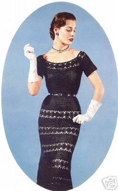 Vintage Crochet Lace Evening Holiday Dress Pattern | eBay