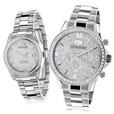 Luxurman Diamond-paved His and Hers Watch Set