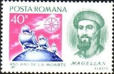 Stamp: Magellan and ships (Romania) (Scientific Anniversaries) Mi:RO Postage Stamps, Romania, Ships, World, Boats, Stamps