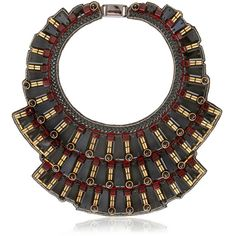 RANJANA KHAN Black Mirror Necklace - Black/Red featuring polyvore, fashion, jewelry, necklaces, accessories, jewels, nakit, red necklace, black bib necklace, beaded bib necklace, bib necklace and black chain necklace